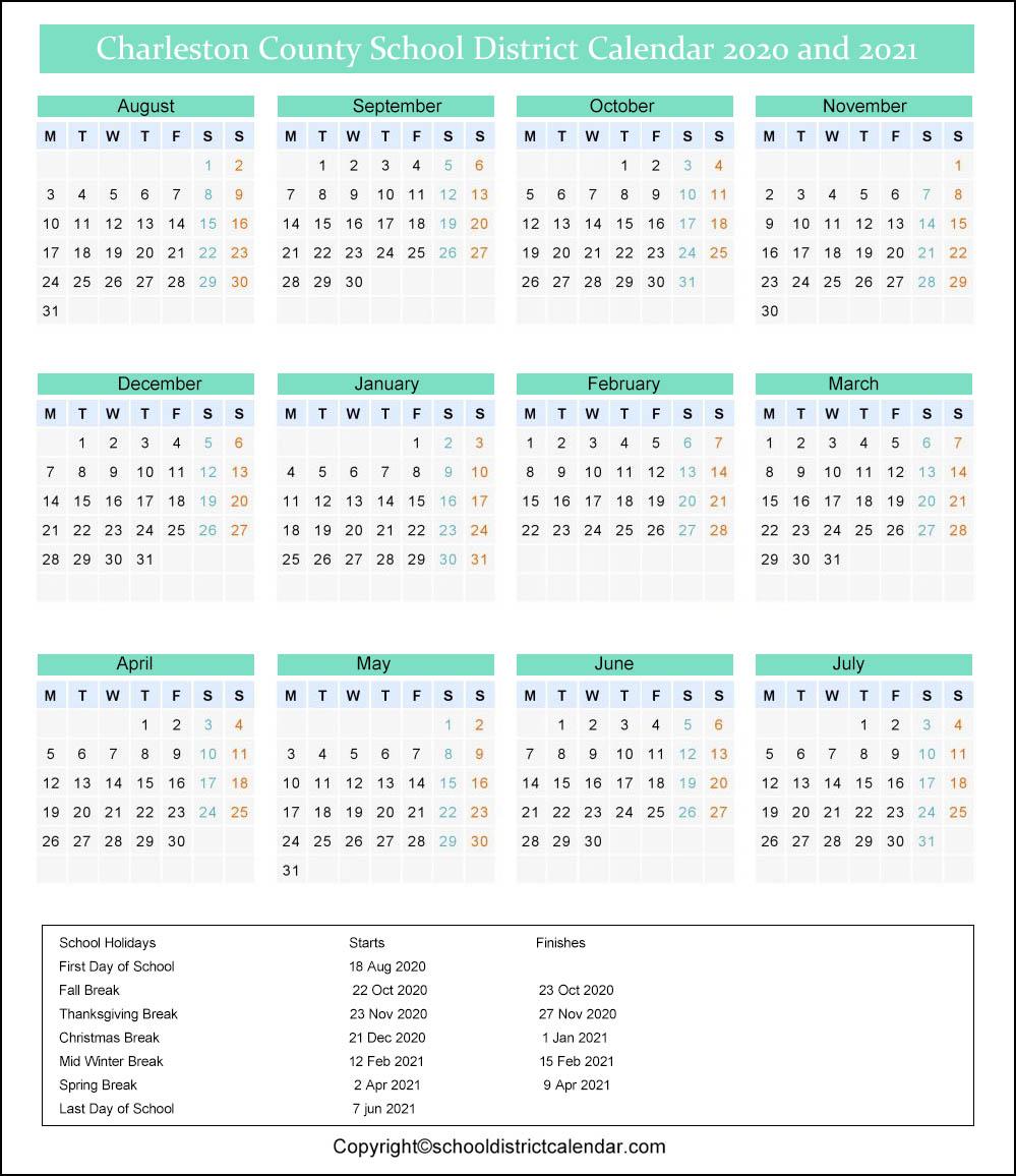 Charleston County School District Calendar 2020