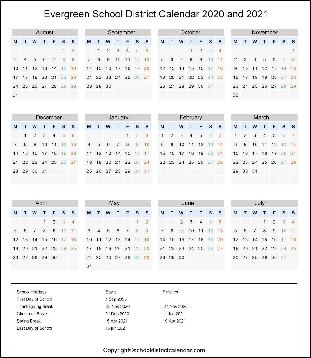 Evergreen School District, Washington Calendar Holidays 2020
