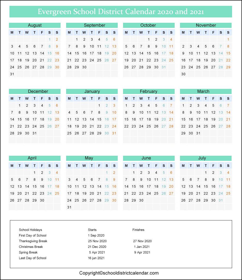 Evergreen School District Calendar 2020