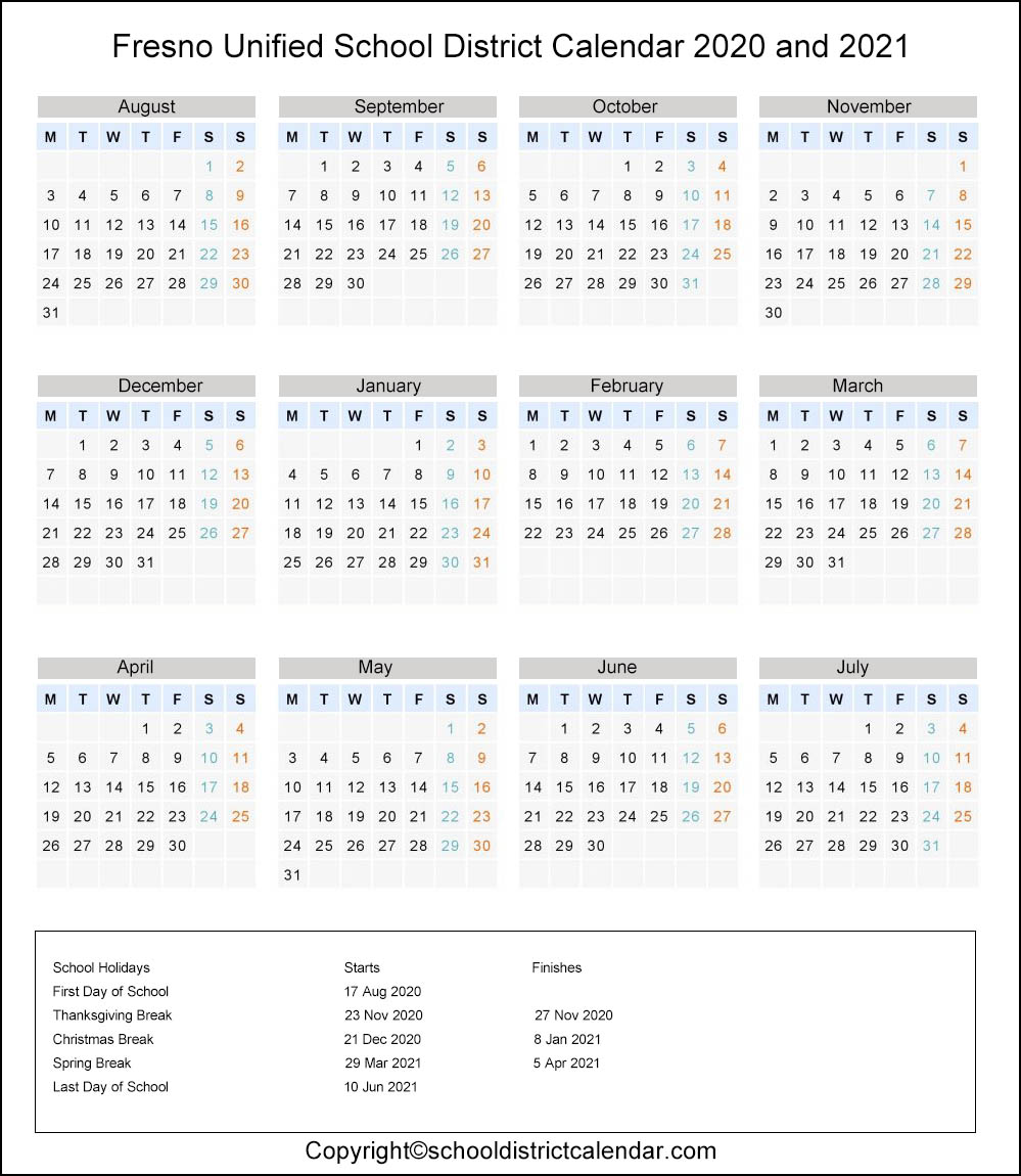 Fresno Unified School District, California Calendar Holidays 2020