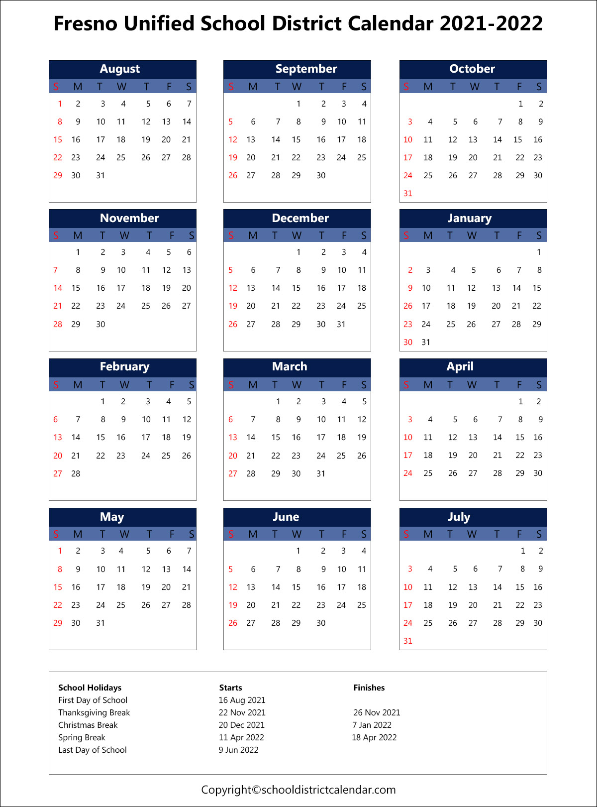 Fresno Unified School District Calendar Holidays 2021 2022