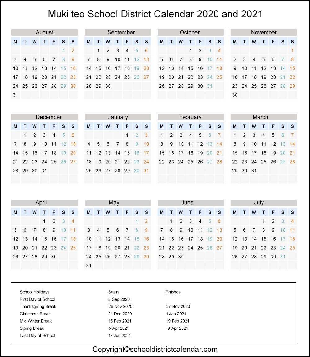 Mukilteo School District, Washington Calendar Holidays 2020