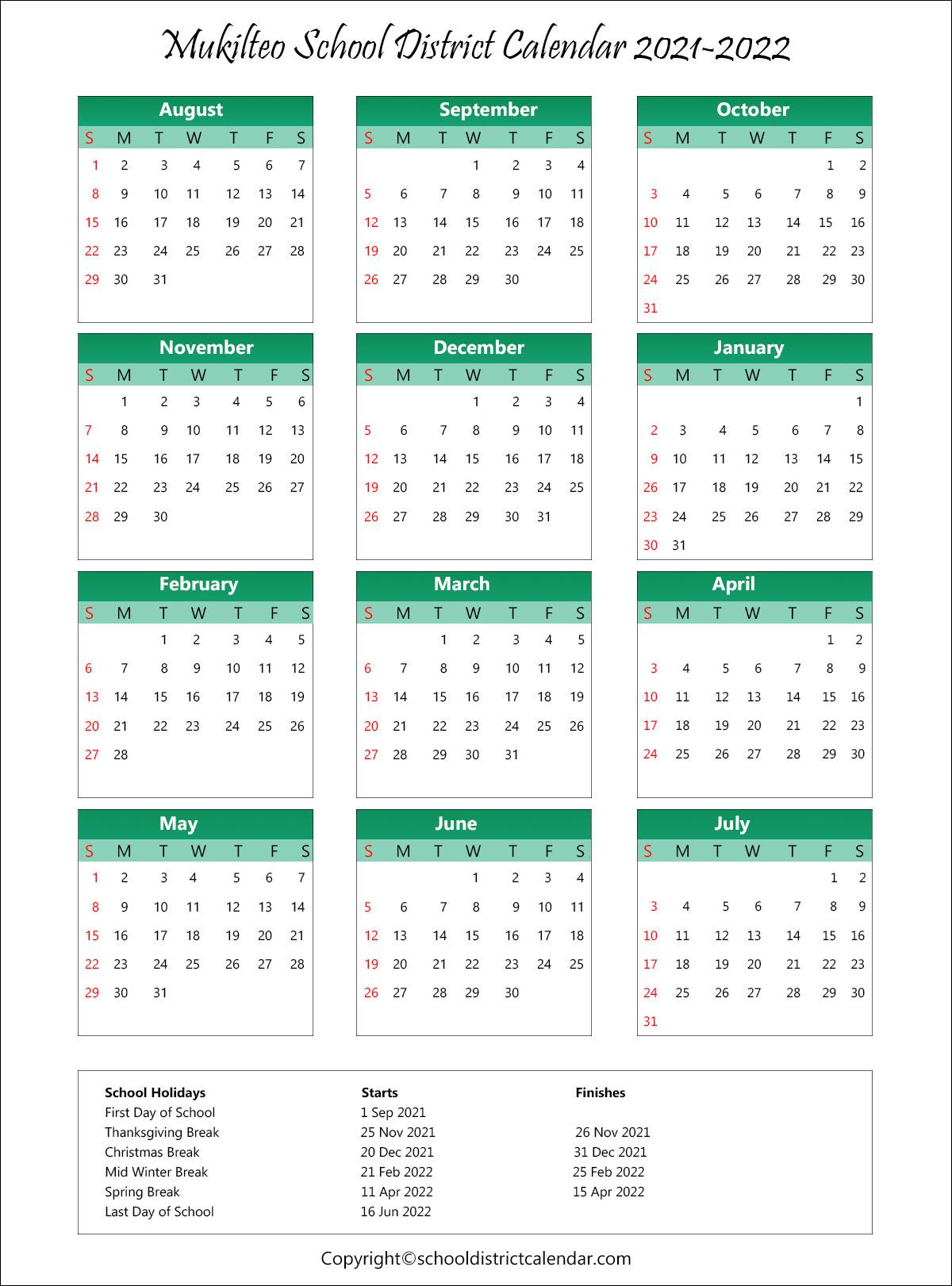 Mukilteo School District, Washington Calendar Holidays 2021