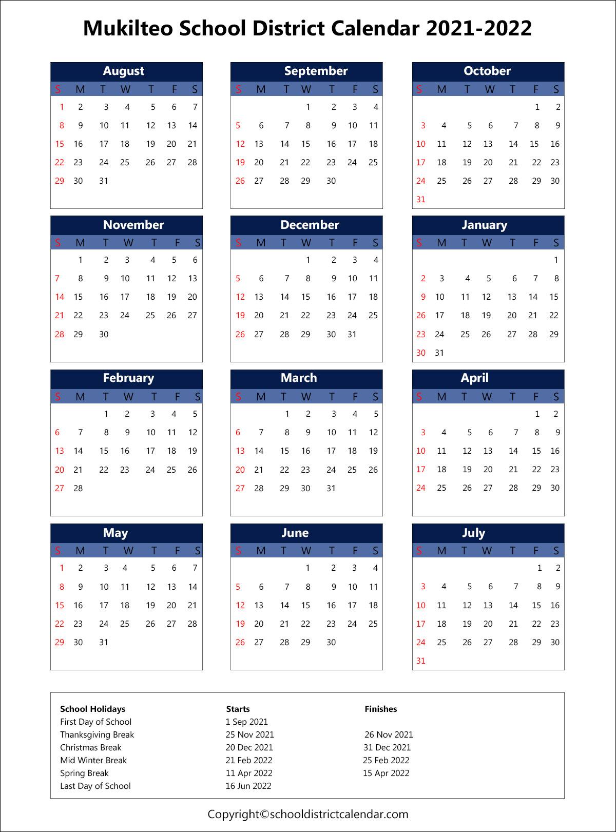 Mukilteo School District Calendar 2021