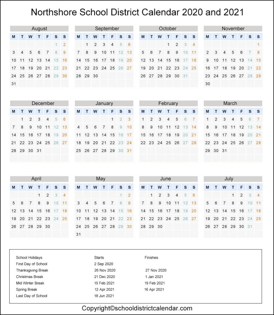Northshore School District, Washington Calendar Holidays 2020