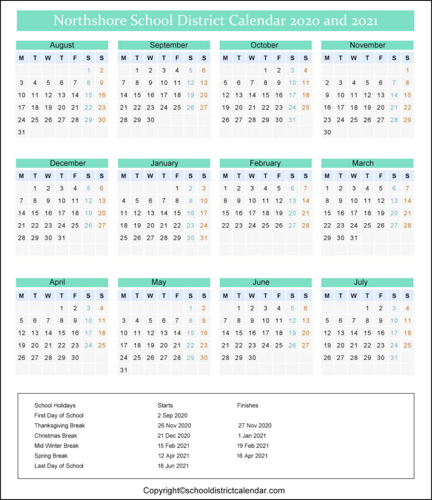 Northshore School District Calendar 2020