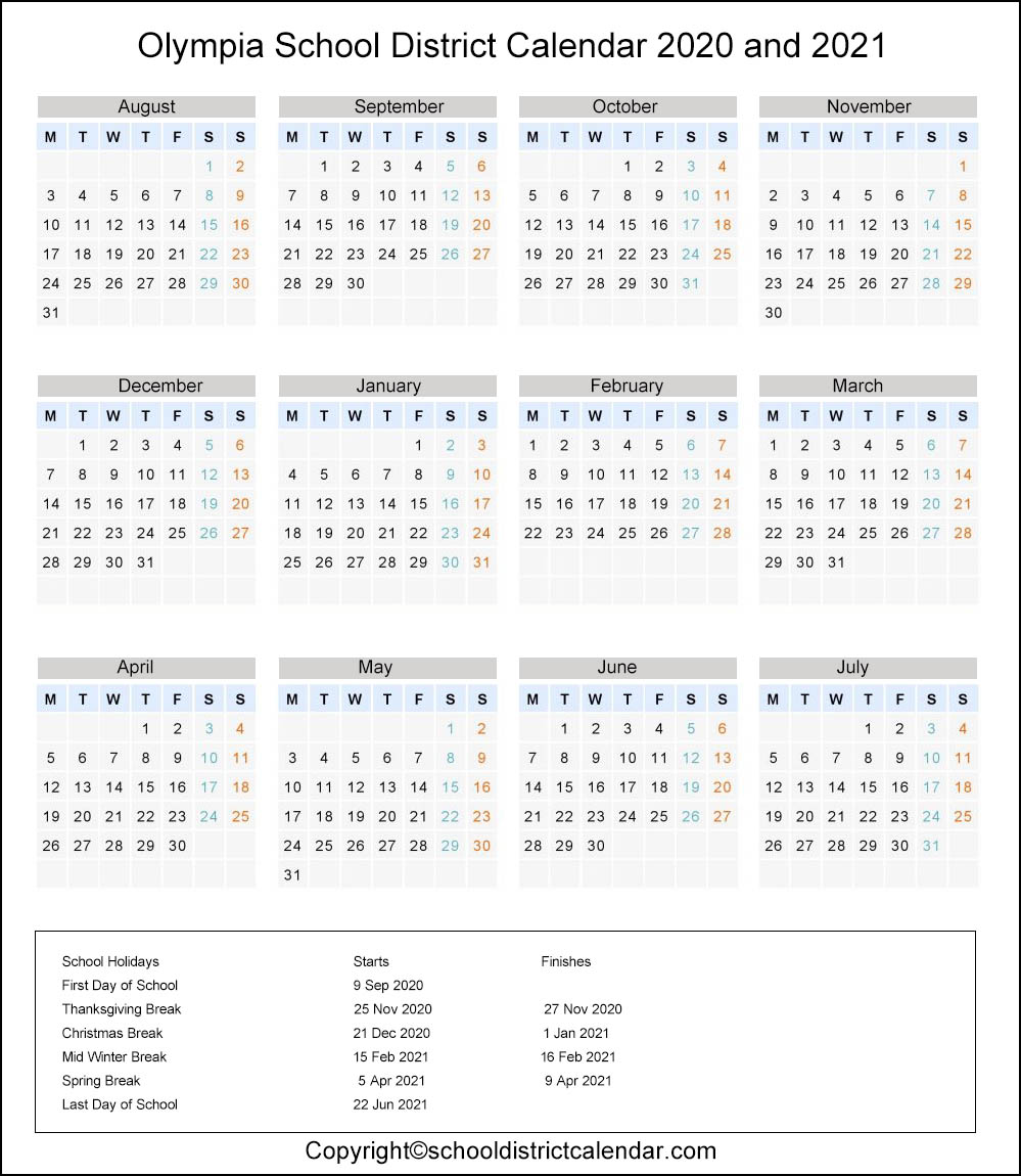 Olympia School District, Washington Calendar Holidays 2020