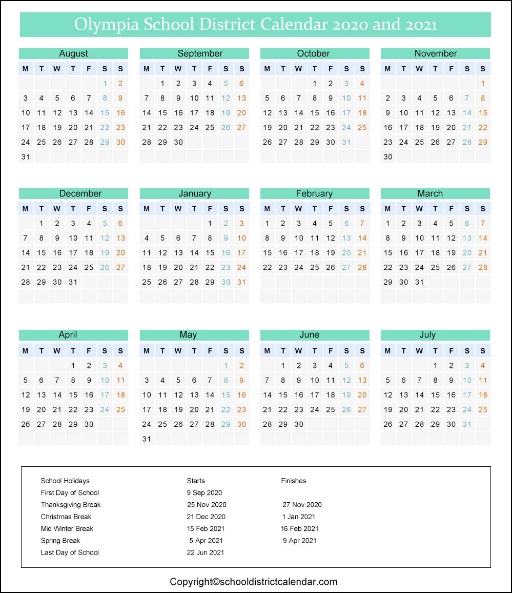Olympia School District Calendar 2020