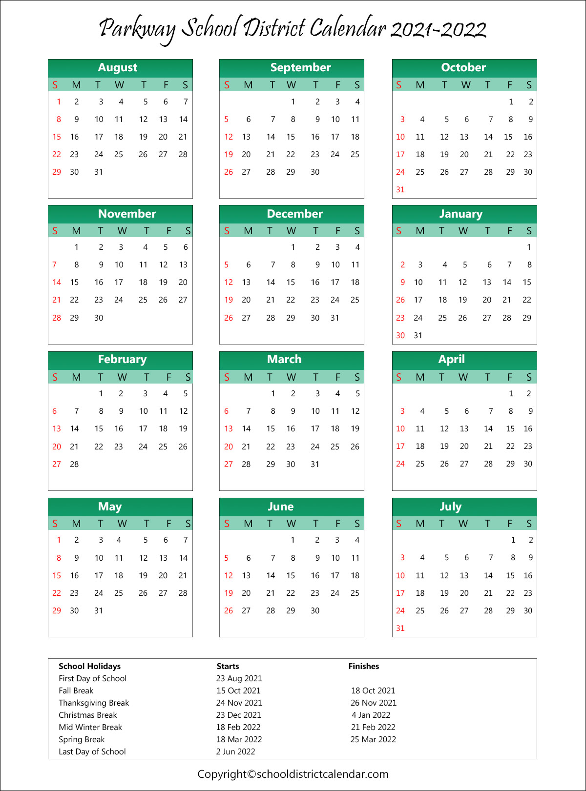 Parkway School District, Missouri Calendar Holidays 2021