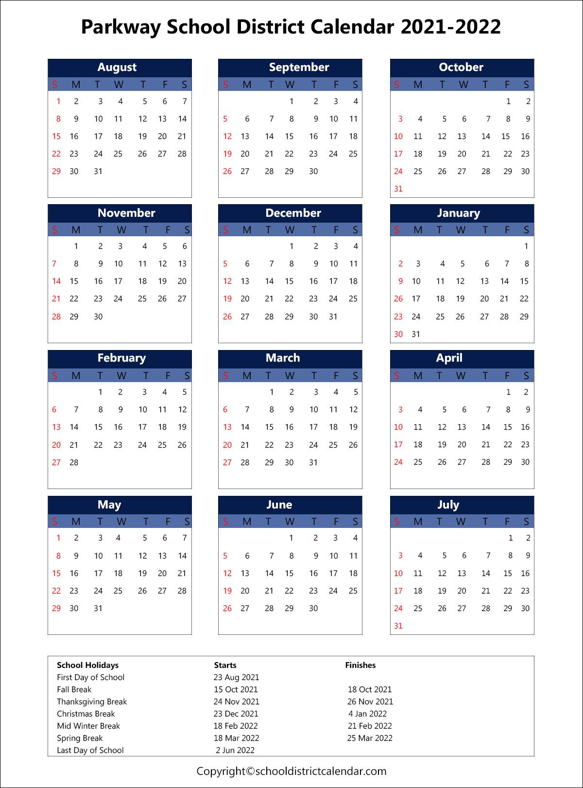 Parkway School District Calendar 2021