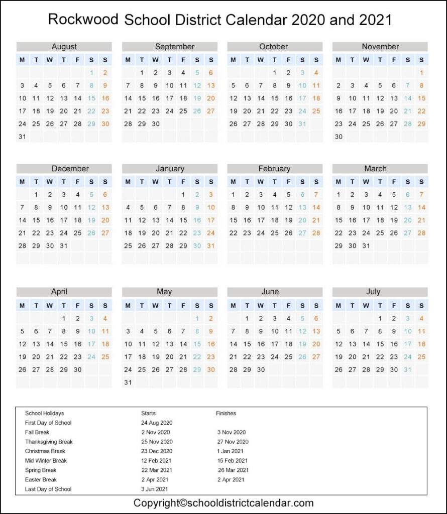 Rockwood School District, Eureka Calendar Holidays 2020