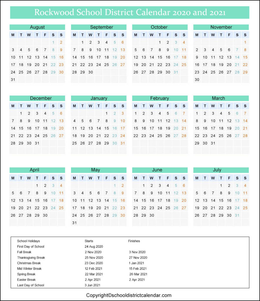 Rockwood School District Calendar 2020
