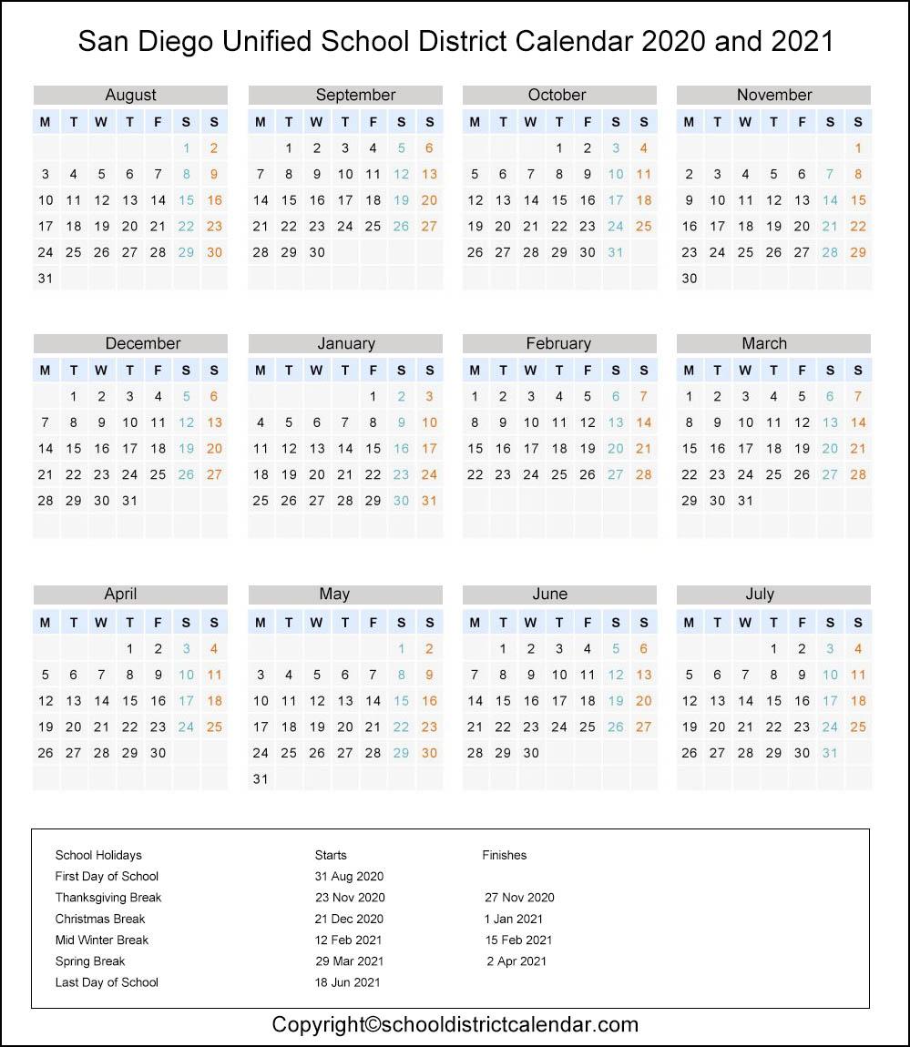 San Diego Unified School District, California Calendar Holidays 2020