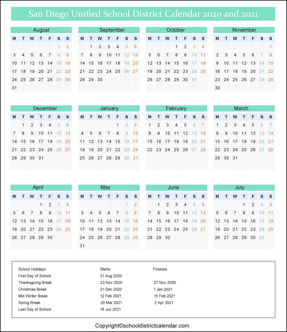 San Diego Unified School District Calendar 2020