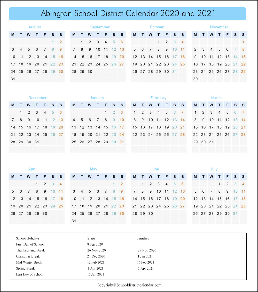 Abington School District, Pennsylvania Calendar Holidays 2020