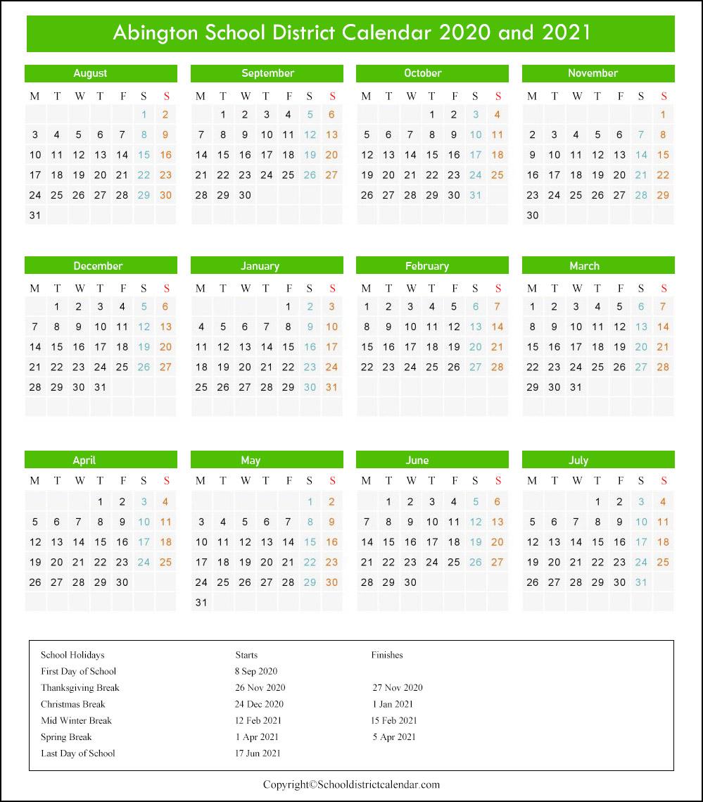 Abington School District Calendar 2020