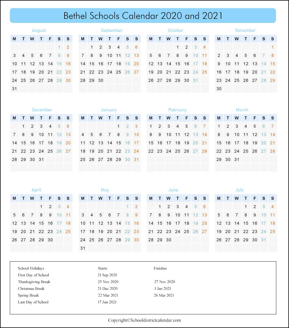 Bethel School District, Washington Calendar Holidays 2020