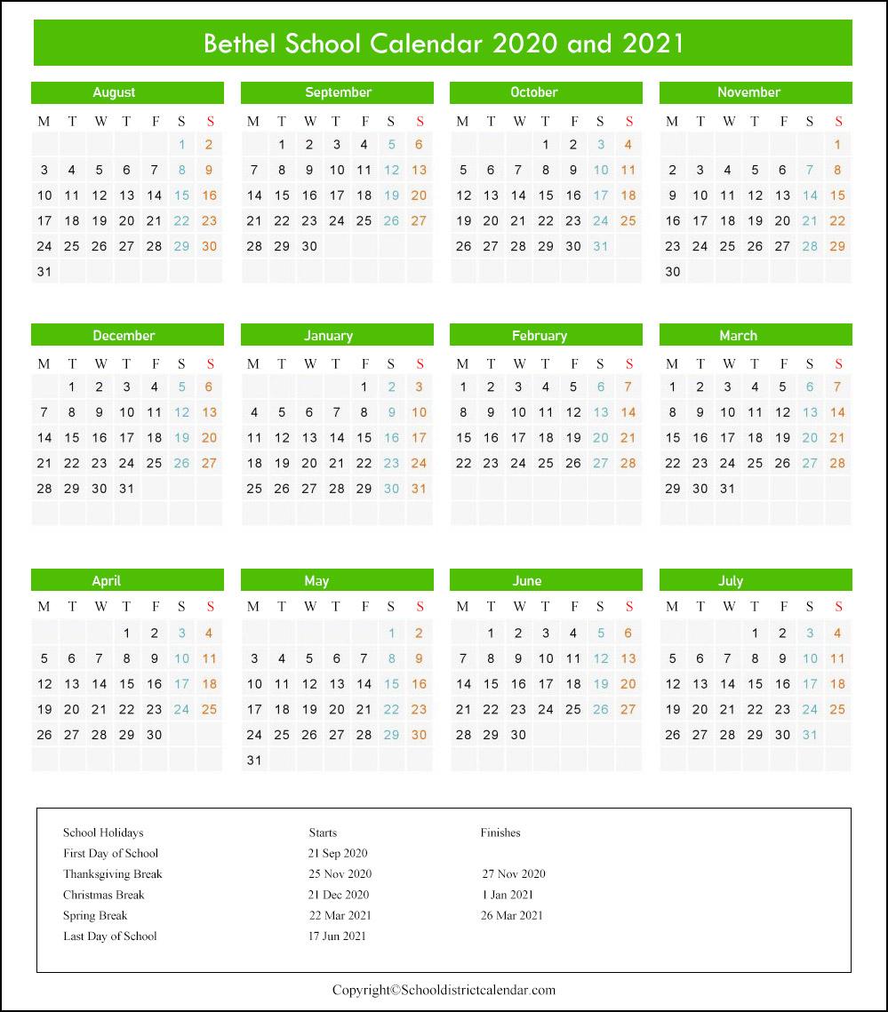 Bethel School District Calendar 2020