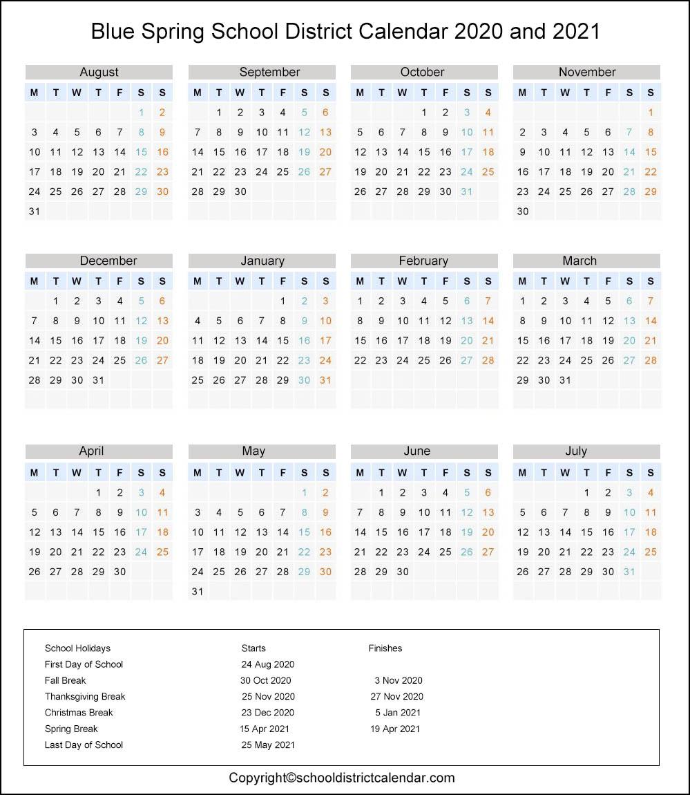 Blue Springs School District, Missouri Calendar Holidays 2020