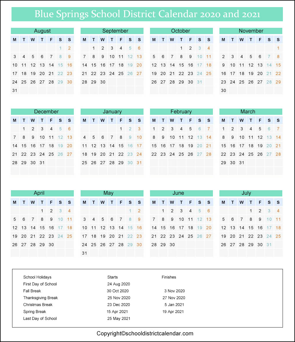 Blue Springs School District Calendar 2020