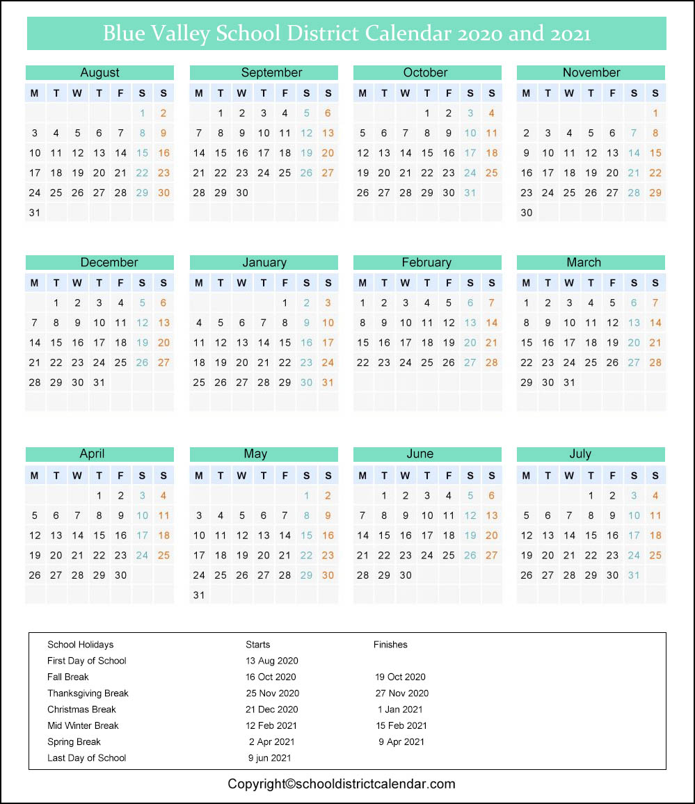 Blue Valley School District Calendar 2020