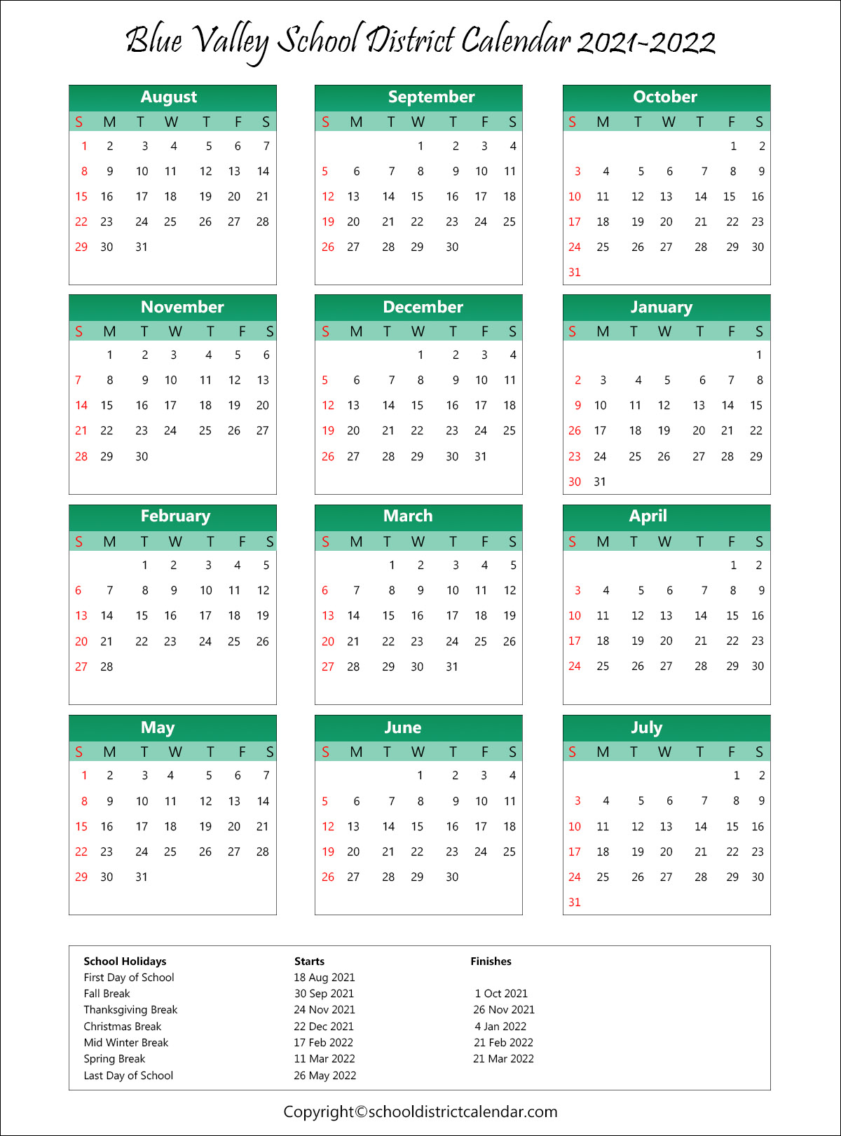 Raytown School District Calendar 2021-2022 Wallpaper