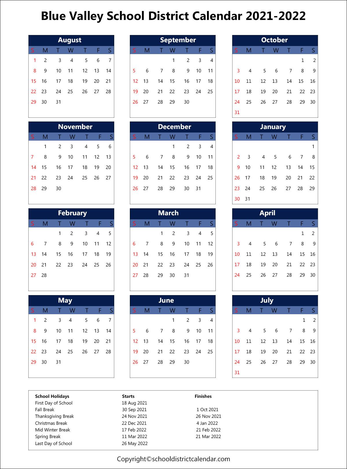 Knox County Schools Calendar 2022.Blue Valley School District Calendar Holidays 2021 2022