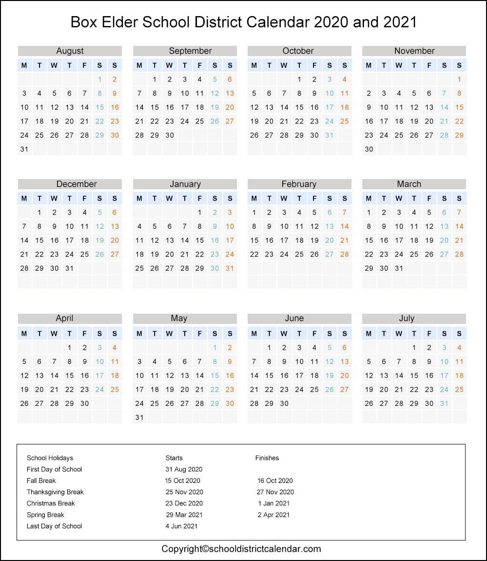 Box Elder School District, Utah Calendar Holidays 2020