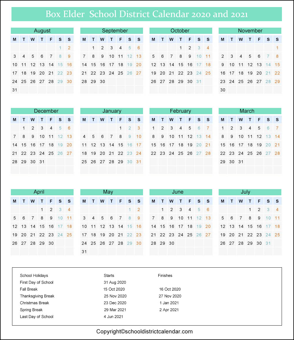 Box Elder School District Calendar 2020