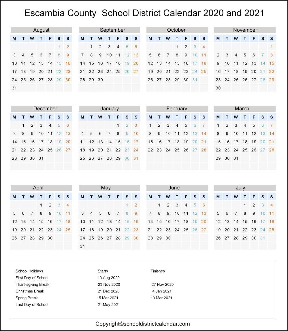 Escambia County School District, Florida Calendar Holidays 2020