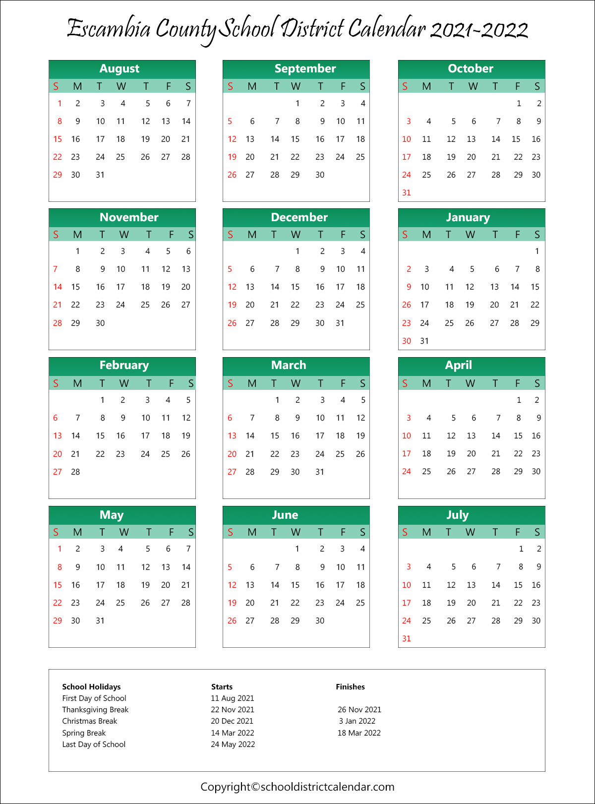Escambia County School District Calendar Holidays 2021 2022