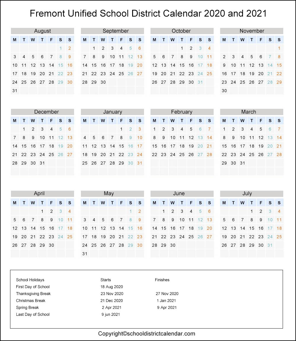 Fremont Unified School District, California Calendar Holidays 2020
