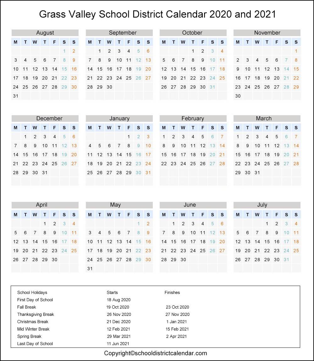 Grass Valley School District Calendar Holidays 2020