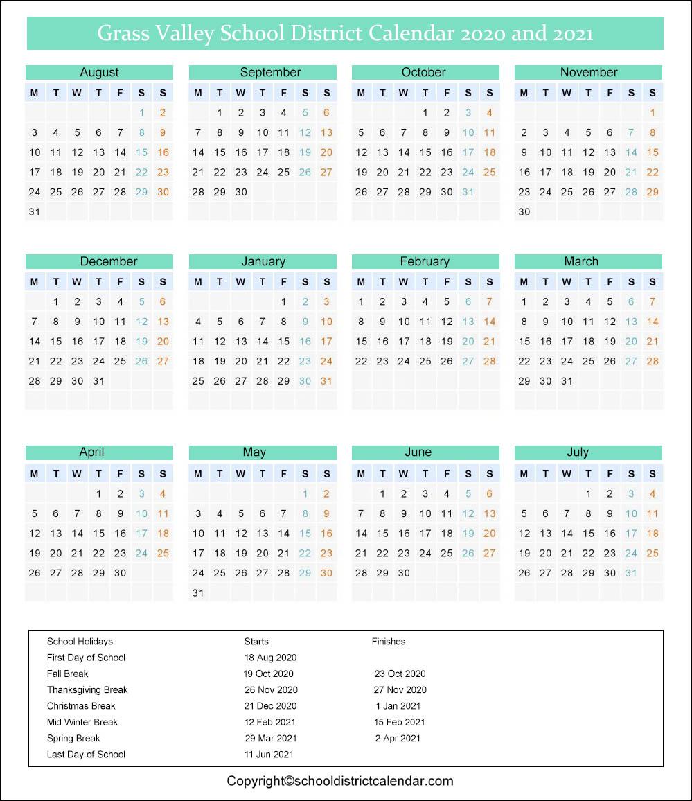 Grass Valley School District Calendar 2020