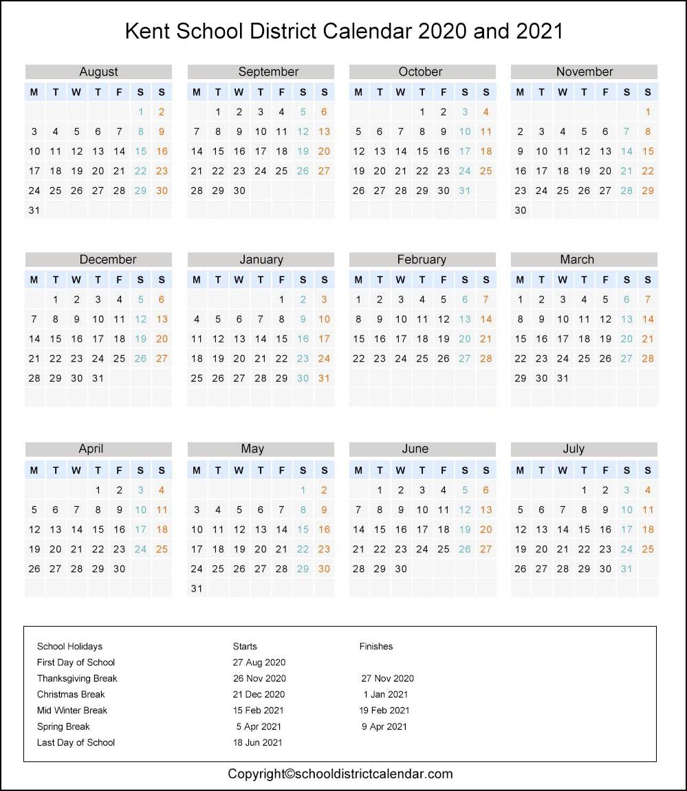 Kent School District, Washington Calendar Holidays 2020