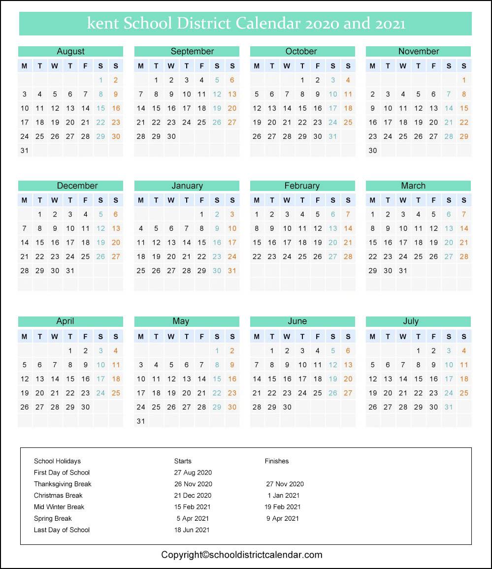Kent School District Calendar 2020