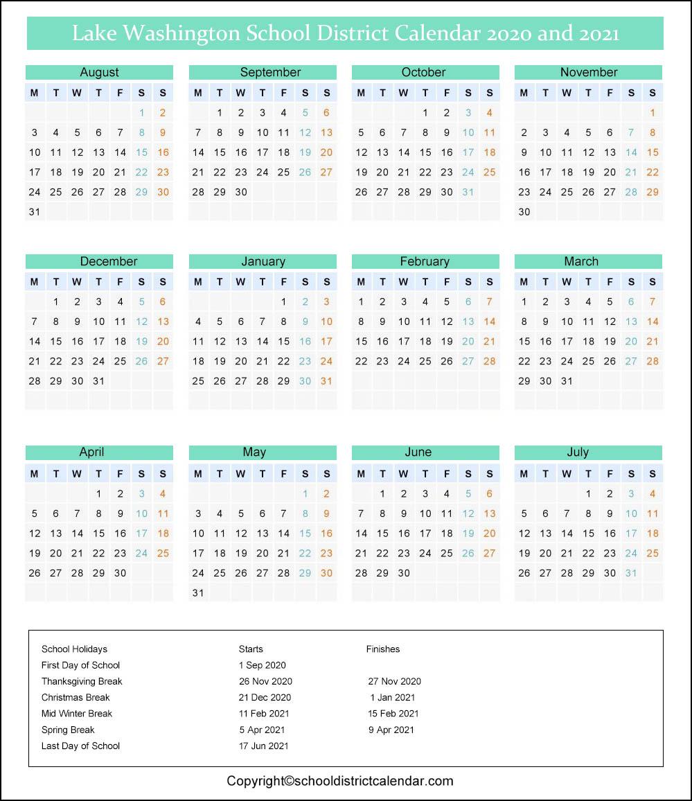 Lake Washington School District Calendar 2020