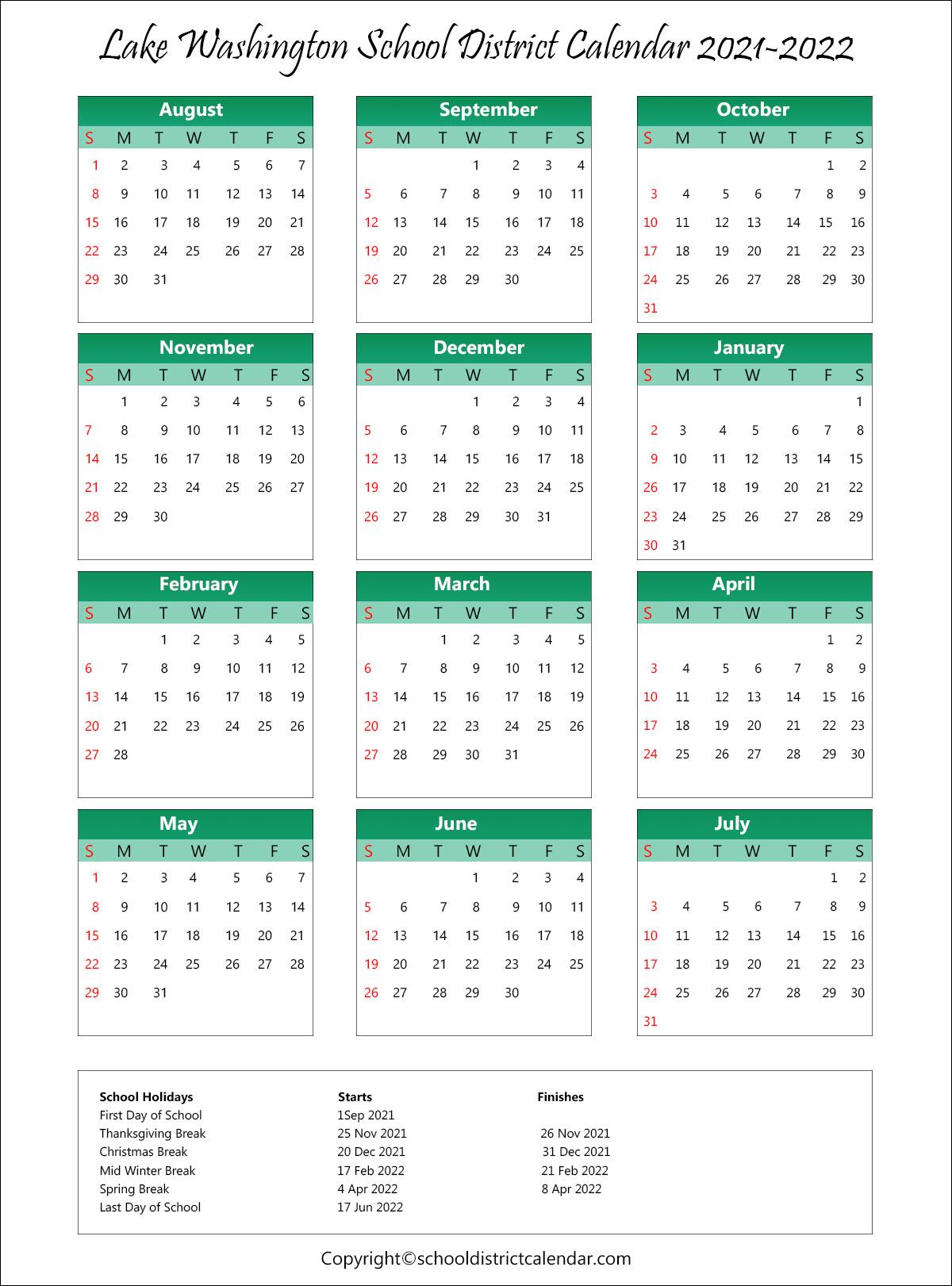 Lake Washington School District, Washington Calendar Holidays 2021