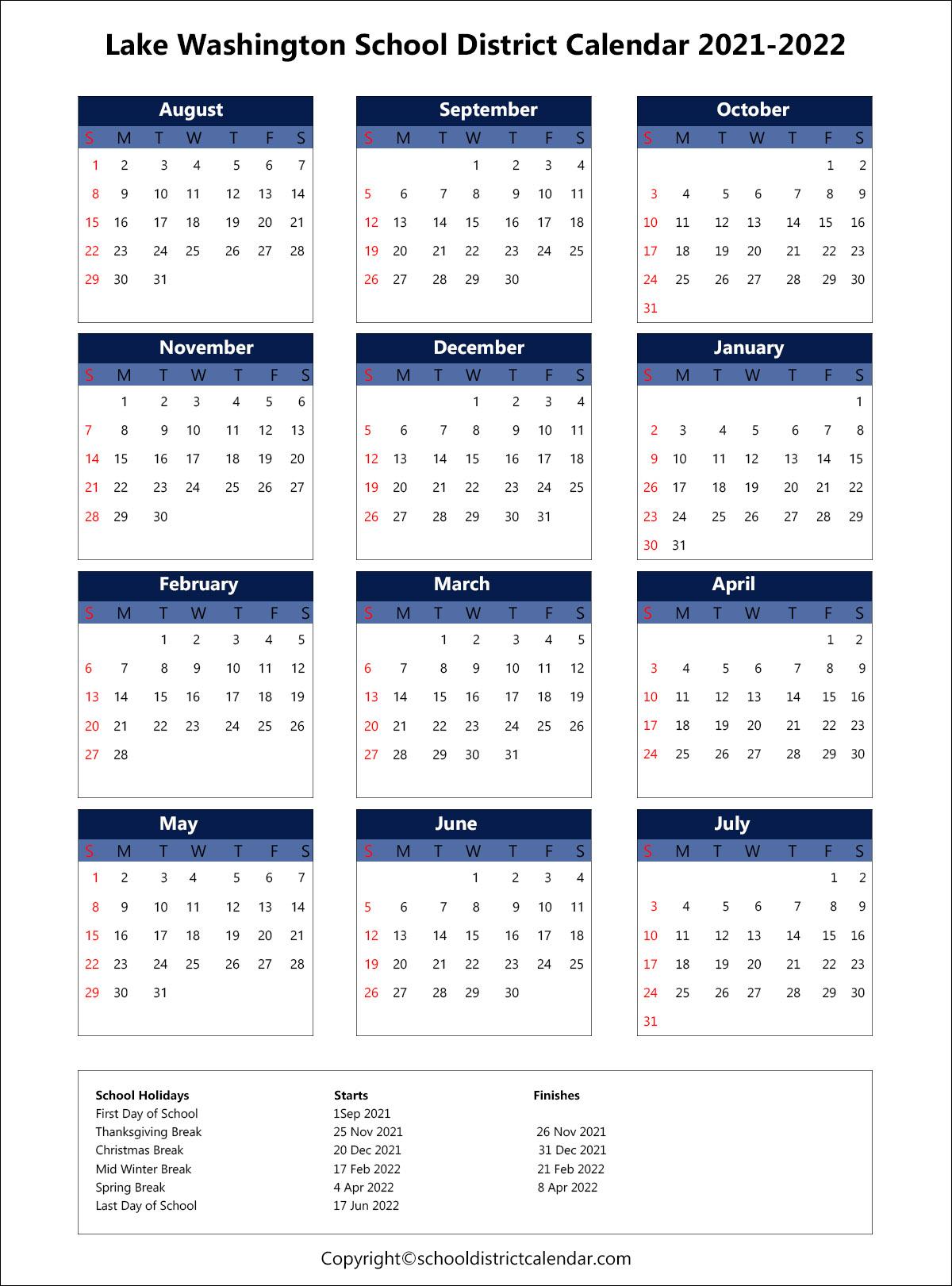 Lake Washington School District Calendar 2021