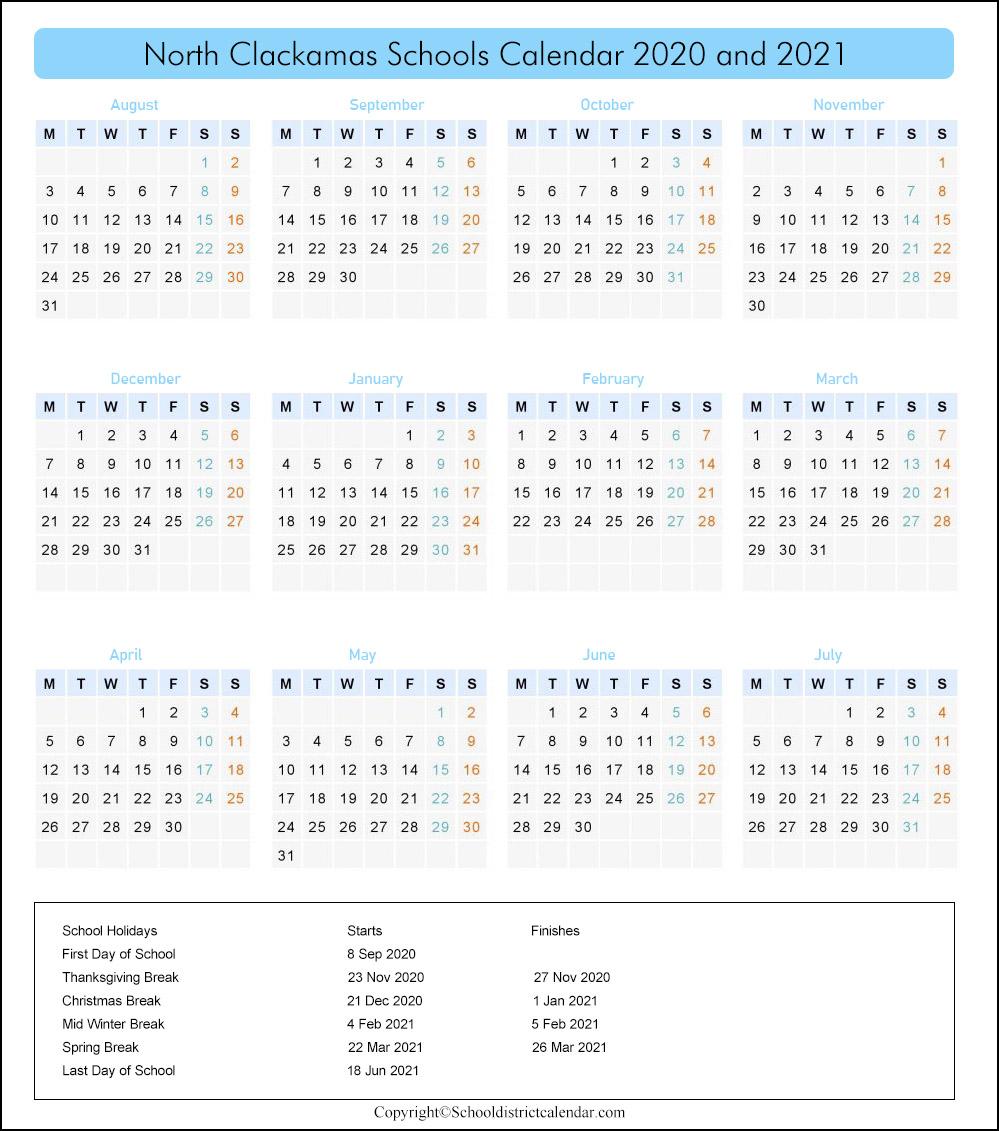 North Clackamas School District, Oregon Calendar Holidays 2020