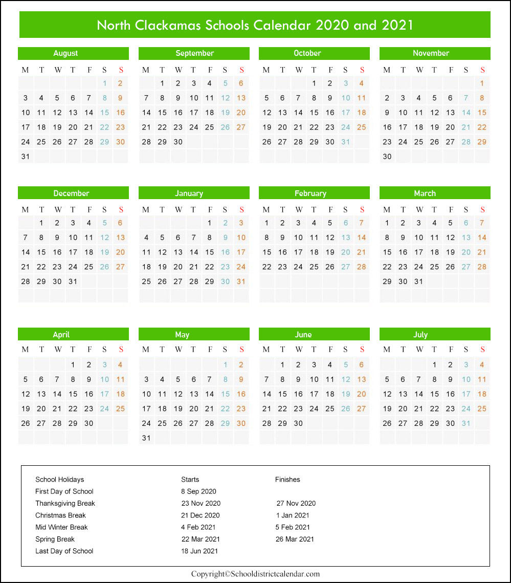 North Clackamas School District Calendar 2020