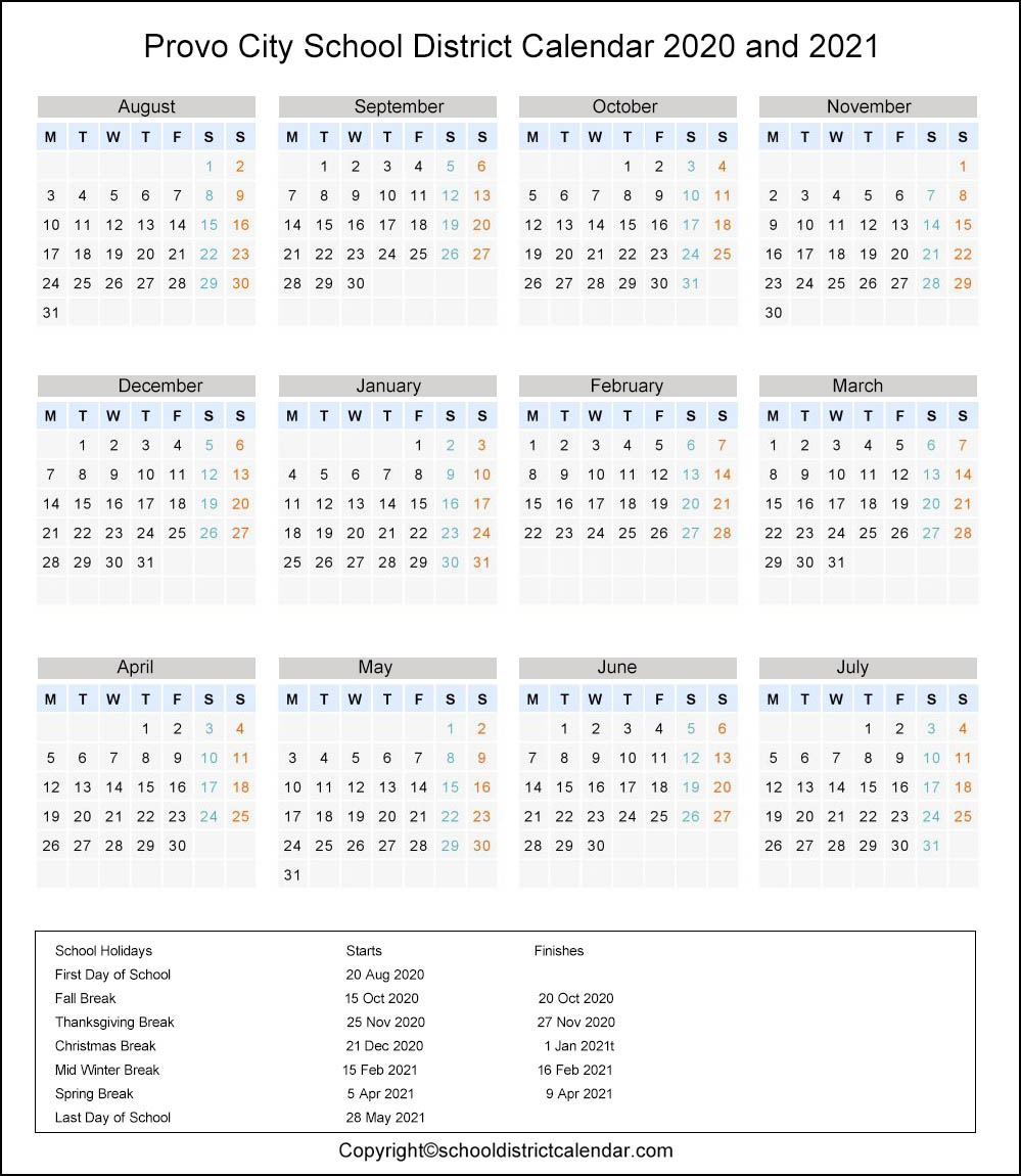 Provo City School District, Utah Calendar Holidays 2020