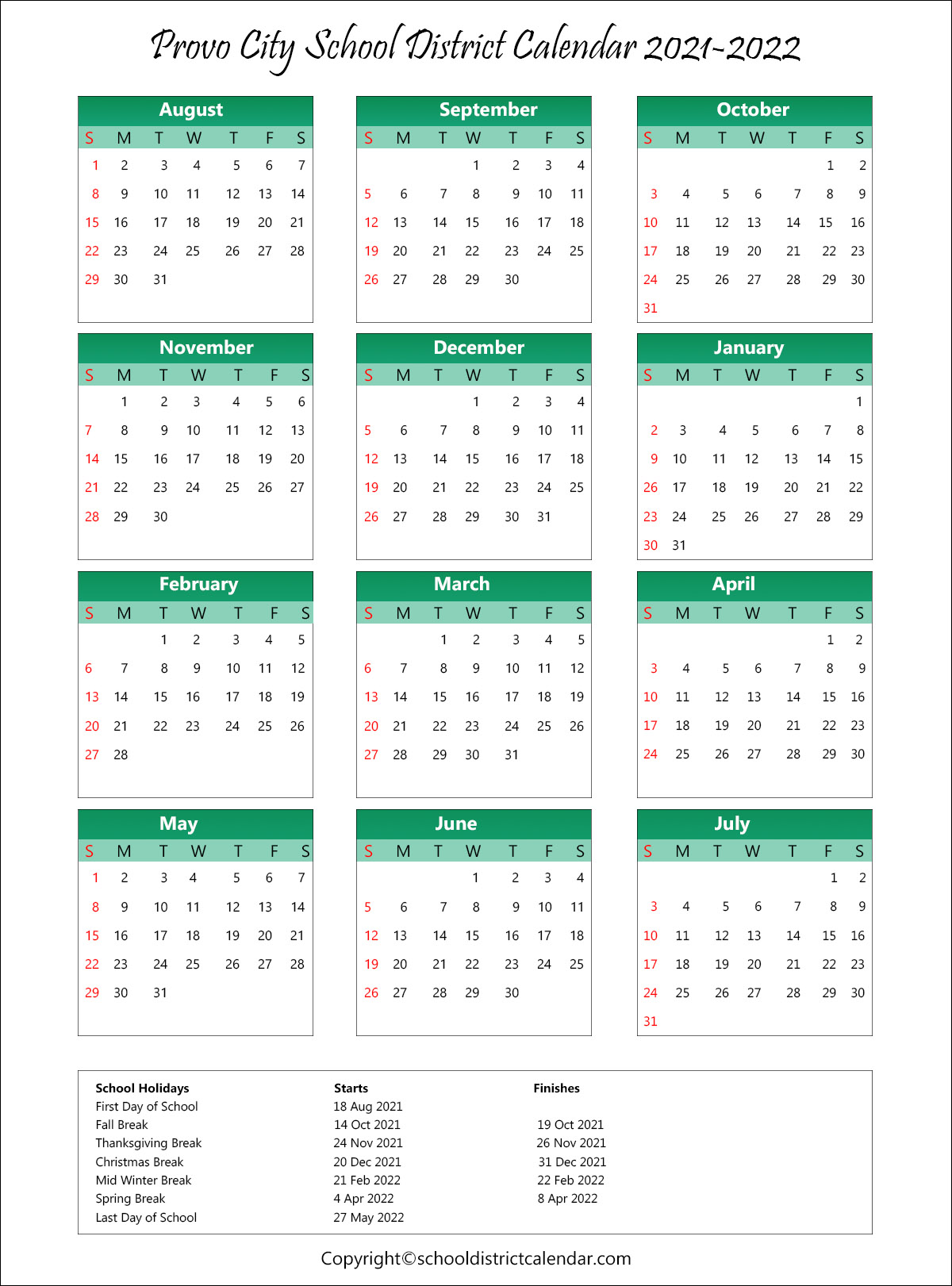 Pictures of Kent School District Calendar 2021-22