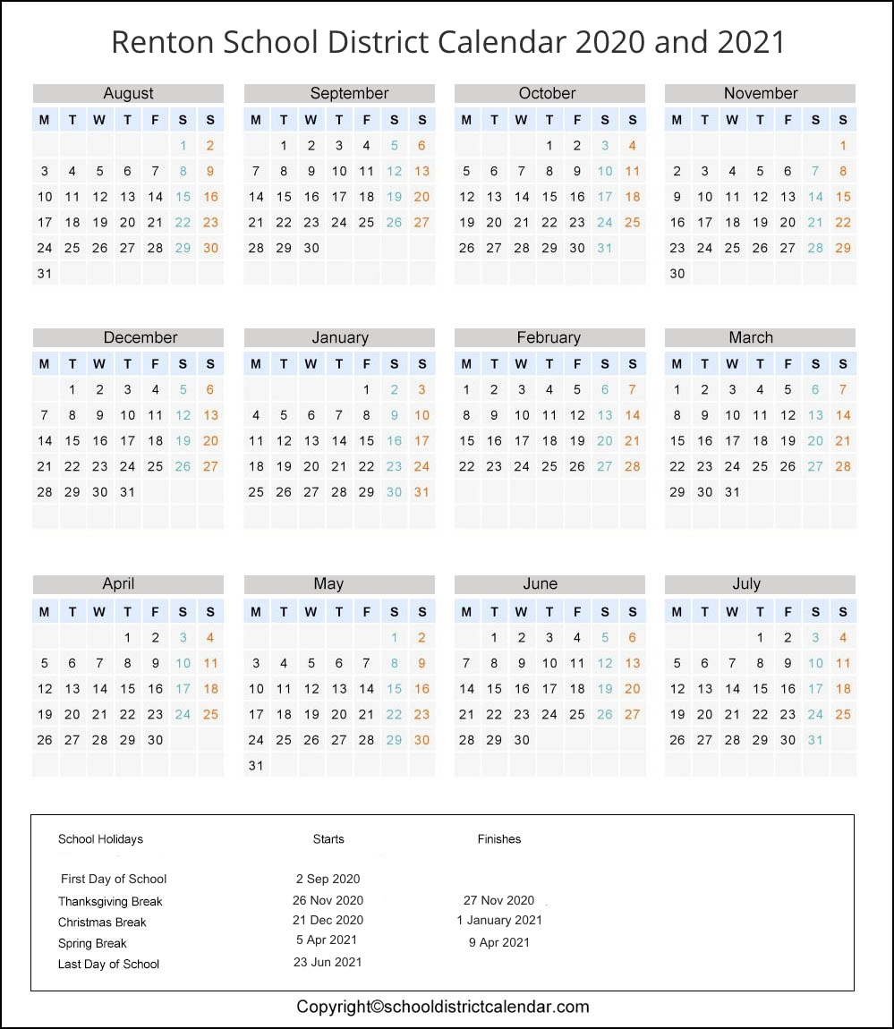 Renton School District, Washington Calendar Holidays 2020
