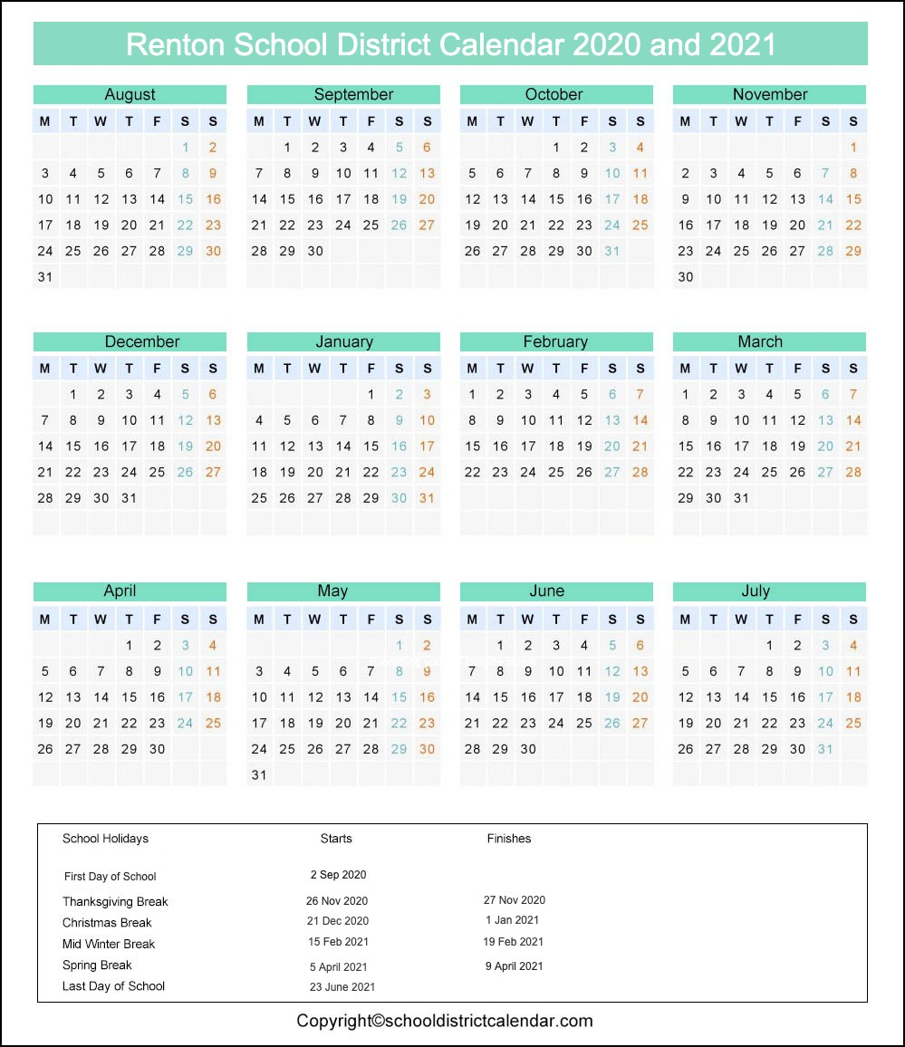 Renton School District Calendar 2020