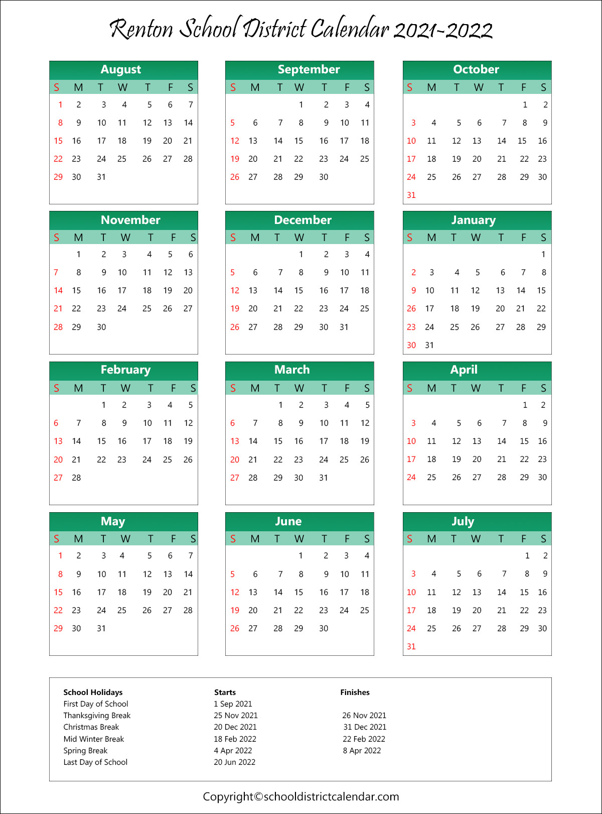 Renton School District, Washington Calendar Holidays 2021
