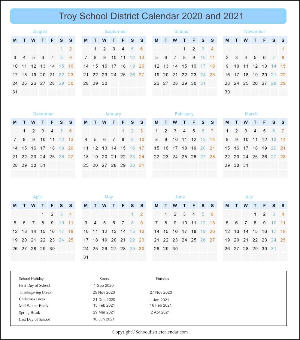 Troy School District, Michigan Calendar Holidays 2020