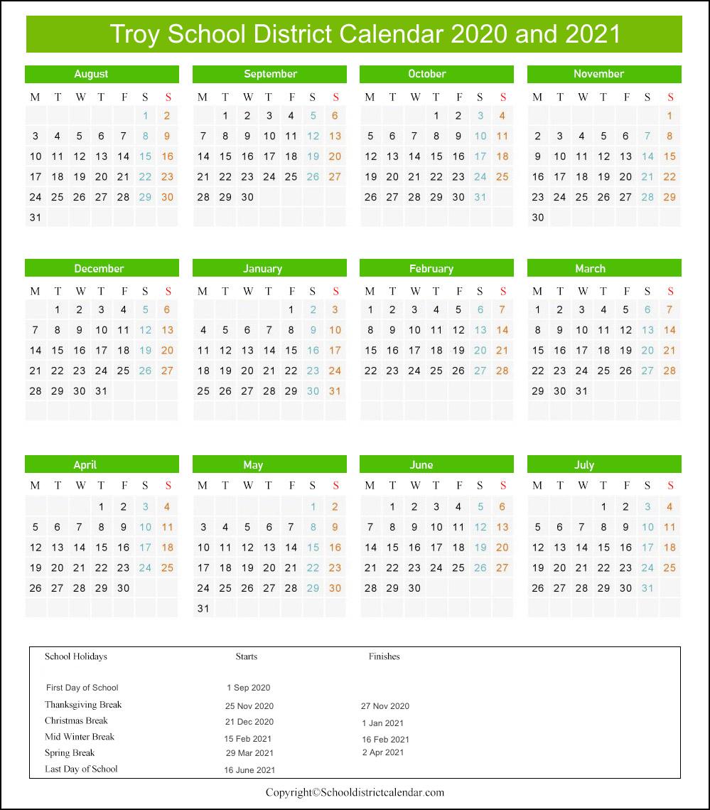 Troy School District Calendar 2020