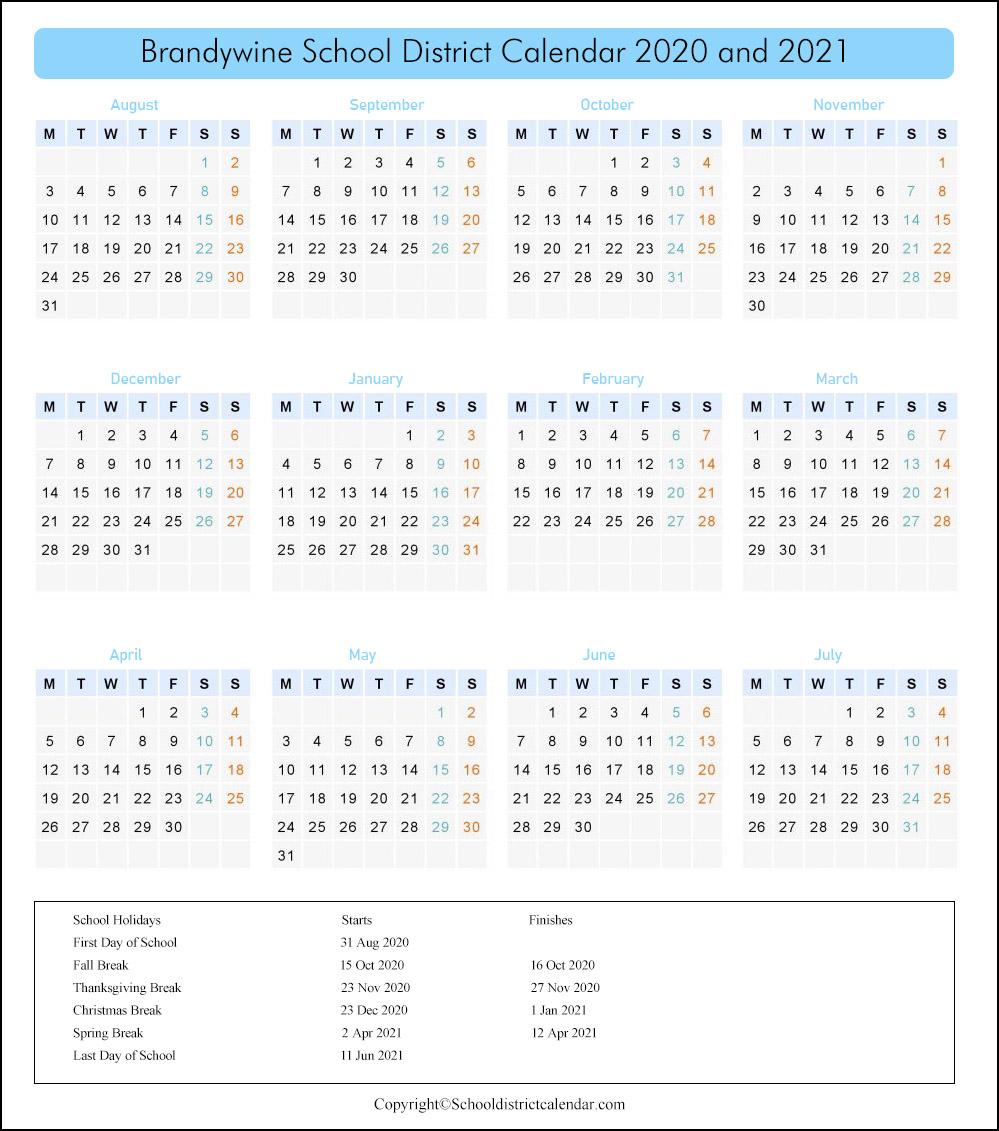Brandywine School District, Delaware Calendar Holidays 2020