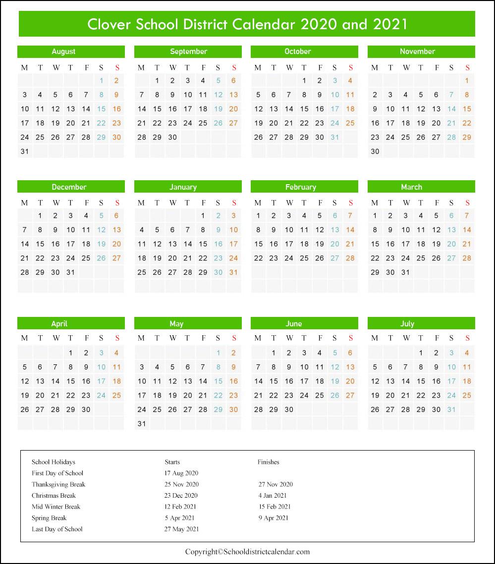 Clover School District Calendar 2020